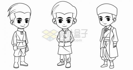 卡通男孩穿着俄罗斯印度土耳其传统服装手绘线条插画png图片素材