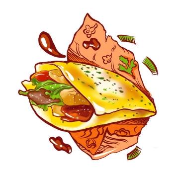 手绘风格煎饼果子传统小吃早餐美食图片免抠png素材
