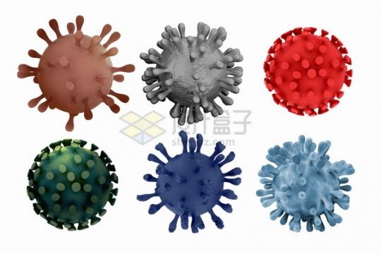 6款逼真的3D立体新型冠状病毒png图片素材