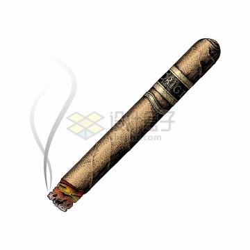 燃烧冒烟的香烟雪茄烟彩色手绘素描插画png图片免抠矢量素材