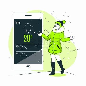 冬天在手机上查看天气预报的女人扁平插画png图片免抠矢量素材