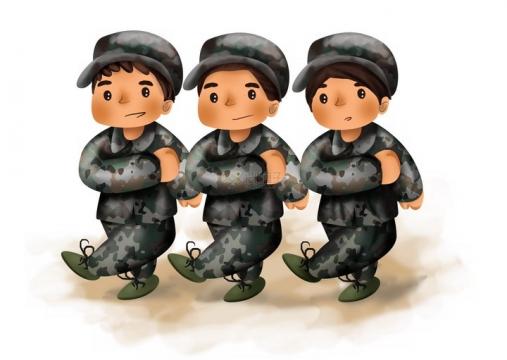 超可爱三个正在踢正步的卡通军训学生png图片免抠素材