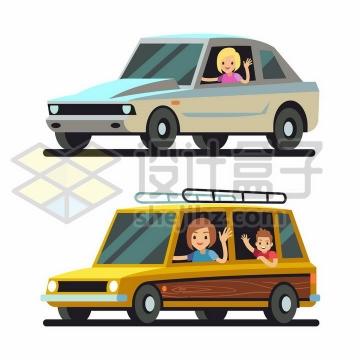 两辆卡通汽车载着一家人png图片免抠矢量素材