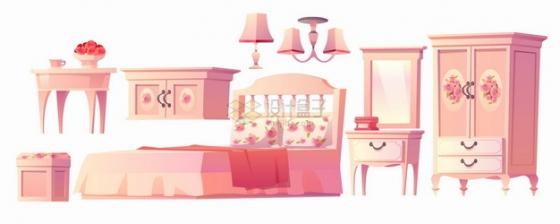 柜子大床化妆镜衣柜等卧室粉色卡通家具png图片素材