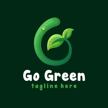 绿色弯曲的嫩芽发芽植物logo设计方案图片免抠素材