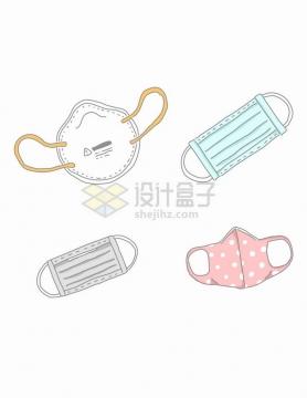 4款线条N95口罩和一次性医用口罩医疗用品手绘插画png图片免抠矢量素材