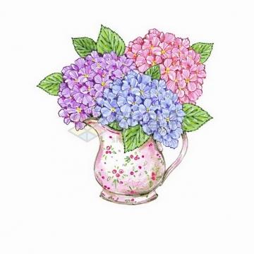 母亲节花瓶中的三种颜色的鲜花康乃馨彩绘插画png图片免抠矢量素材