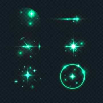 6款绿色星光光晕光环效果图片免抠矢量图素材