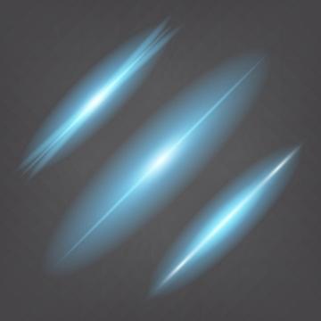 3种蓝色光芒发光效果图片免抠矢量图