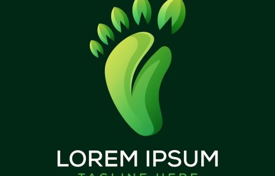 绿色树叶组成的小脚丫logo设计方案图片免抠素材