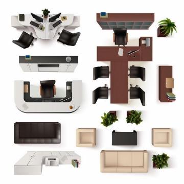 俯视视角办公桌书柜会议桌沙发等办公室家具平面图png图片免抠矢量素材