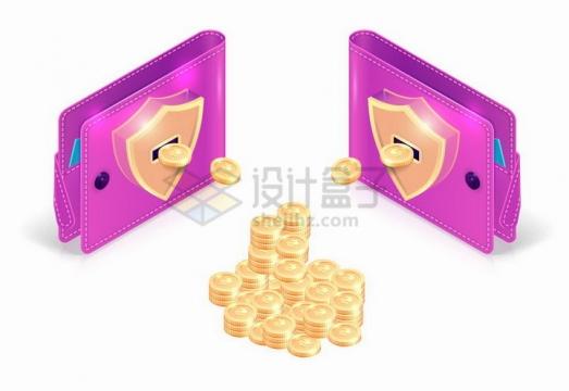 3D风格两个紫色钱包之间产生的金币象征了交易和资金流动png图片免抠矢量素材