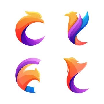 4款抽象彩色鸡头凤凰logo设计方案图片免抠素材