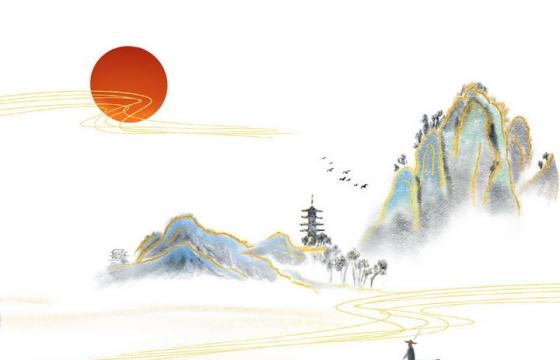 水墨画风格远处的大山和山上的寺庙近处的扁舟图片免抠png素材