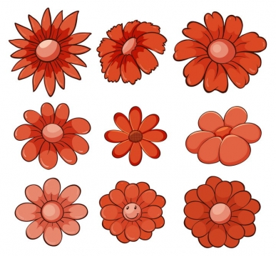 9款红色的卡通花朵花瓣图片免抠矢量素材