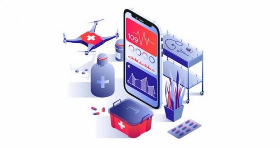 3D立体风格智能手机无人机送药智能医疗png图片免抠矢量素材