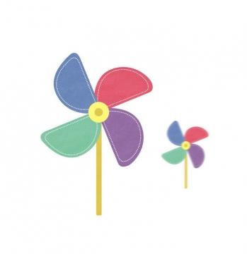 彩色手绘风格纸风车装饰图片免扣素材