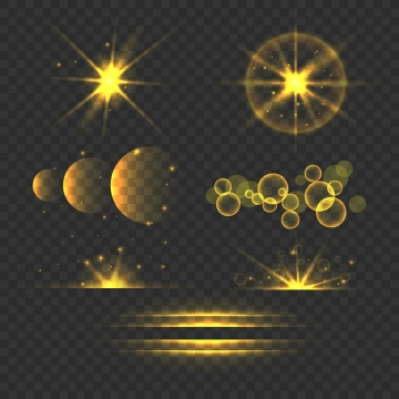 各种黄色光芒四射光晕光斑效果图片免抠矢量图素材