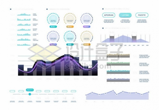 各种曲线折线创意PPT数据图表png图片免抠矢量素材