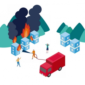 消防员在火灾现场灭火插画203362png图片素材