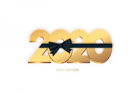 创意绑上黑色蝴蝶结的2020年立体艺术字体图片免抠矢量图