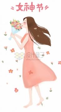 彩绘粉色连衣裙女孩女神节png图片免抠素材