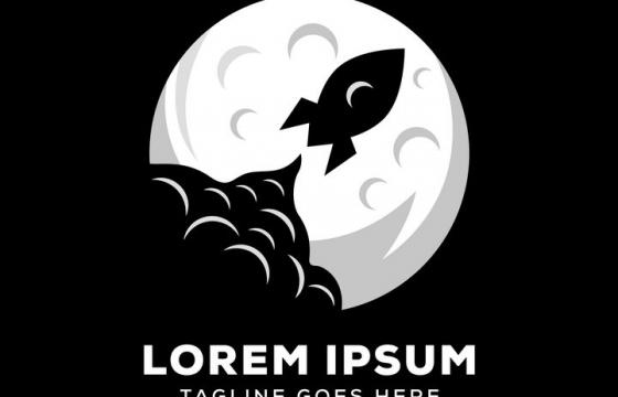 卡通月球和火箭logo设计方案图片免抠素材