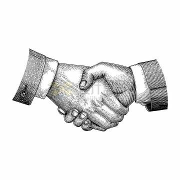 握手手绘素描插画png图片免抠矢量素材