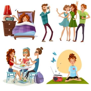 4款漫画风格年轻人早上起床拍照吃饭晚上打坐练瑜伽各项活动图片免抠素材