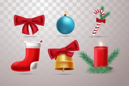6种圣诞节装饰物品蝴蝶结圣诞球袜子铃铛蜡烛等图片免抠矢量图