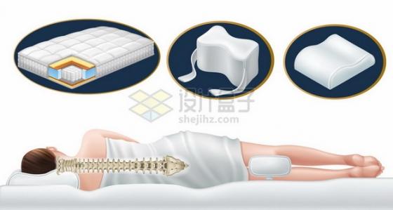 美女睡在独立弹簧的床垫对颈椎的支撑作用示意图478269png矢量图片素材