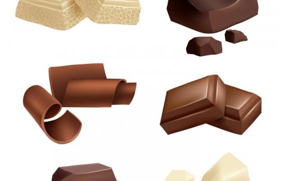 6款各种形状的白巧克力黑巧克力零食图片免抠矢量素材
