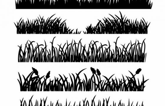 5款青草地草丛花丛剪影png图片免抠矢量素材
