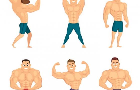 6款肌肉男健身举重健美人士免扣图片素材
