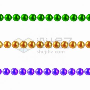 3款绿色金色和紫色的珍珠项链珠宝首饰png图片素材