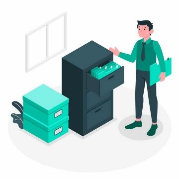 绿色扁平插画风格拉开抽屉查看文件夹的年轻人png图片免抠矢量素材