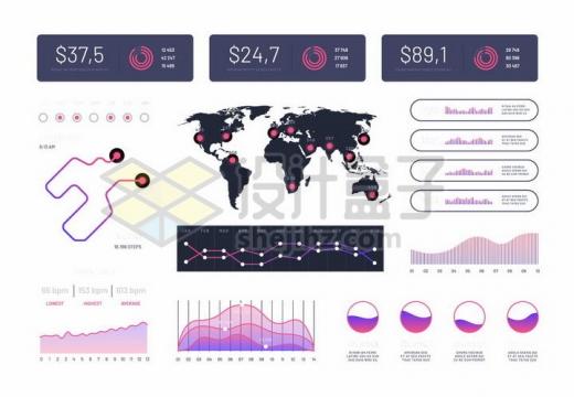 唯美渐变色风格路线图世界地图曲线图液体图等创意PPT数据图表png图片免抠矢量素材