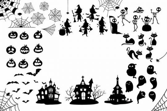 蜘蛛网南瓜灯城堡鬼魂死神黑猫等万圣节剪影png图片免抠矢量素材