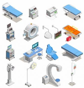 2.5D风格医院病床救护床CT机等医疗用品png图片免抠矢量素材