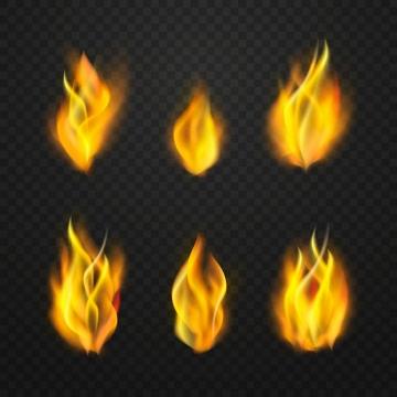 6款燃烧着的黄色火焰火苗效果png图片免抠矢量素材