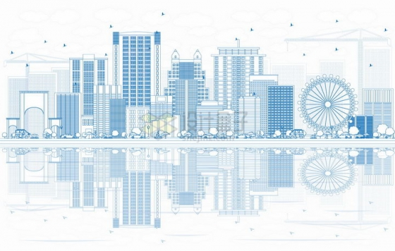 美国奥兰多蓝色线条城市天际线png图片素材