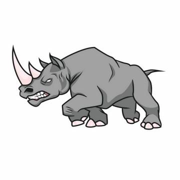 愤怒向前冲的犀牛png图片免抠矢量素材