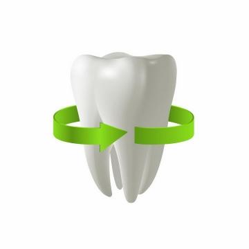 被绿色箭头包围着的3D立体牙齿png图片免抠矢量素材
