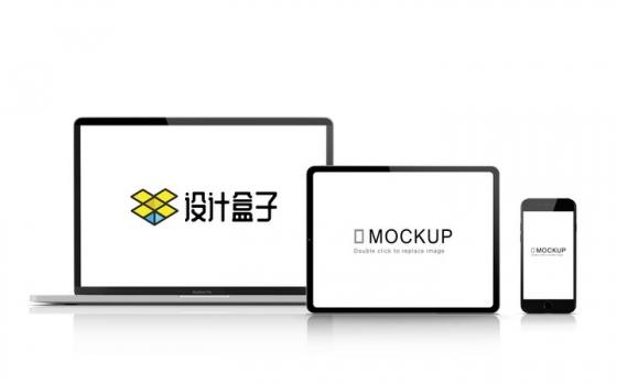 依次排开的苹果MacBook Pro笔记本电脑iPad平板电脑和iPhone手机显示样机图片设计模板素材