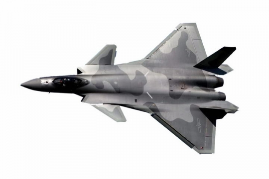 俯视视角的歼20战斗机png免抠透明图片