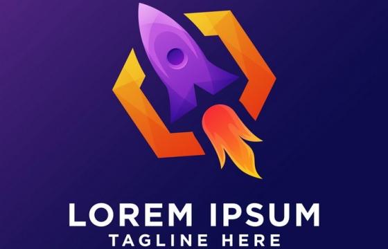 飞行中的火箭logo设计方案图片免抠素材