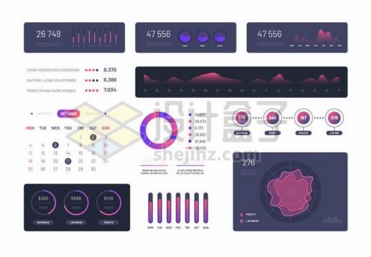 唯美风格面积图环形图条形图曲线图等创意PPT数据图表png图片免抠矢量素材