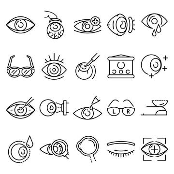 黑色线条MBE风格眼睛视力保护图标免扣图片素材