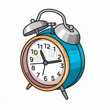 卡通蓝色闹钟时钟计时工具png图片免抠矢量素材