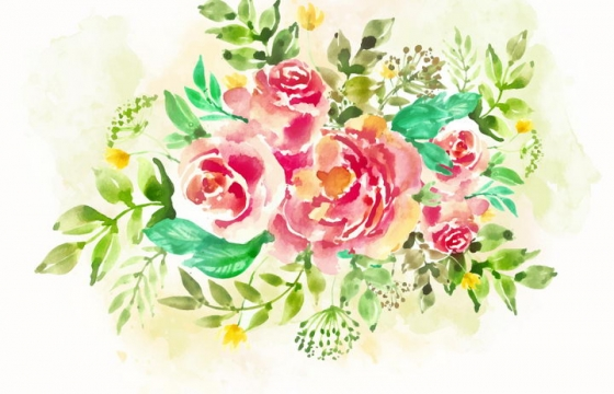 水彩画风格牡丹花花卉花朵鲜花装饰图片免抠矢量图